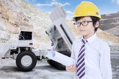 Little architect and loader truck Royalty Free Stock Photography
