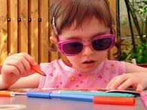Little artist. Cute little girl drawing Stock Photography