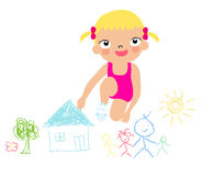 Little artist - cute girl painting Royalty Free Stock Image