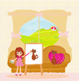 Little artist girl painting cat on large paper canvas. Illustration Stock Photos