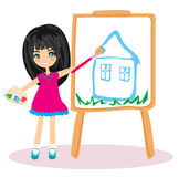 Little artist girl painting her dream house Royalty Free Stock Images