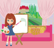 Little artist girl painting landscape from the window Stock Photography