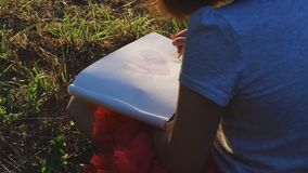 Little artist girl draws a heart. Little artist girl in red skirt draws heart with pencils in album, sitting on grass, in forest park stock footage