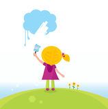 Little artist kid painting on the sky. Cute child painting blue cloud. Vector Illustration Stock Photography