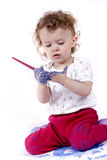Little artist with paintbrush Royalty Free Stock Photography