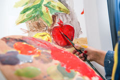 Little artist painting Royalty Free Stock Image
