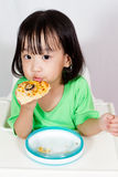Little Asain Chinese Eating Pizza Stock Photos