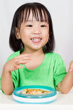 Little Asain Chinese Eating Pizza Stock Photography