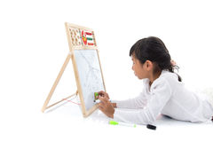 Little Asian artist child drawing Royalty Free Stock Photos