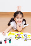 Little Asian artist girl Stock Photos