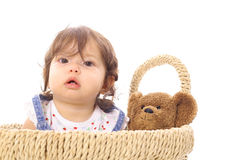 Little asian baby in basket Royalty Free Stock Photos