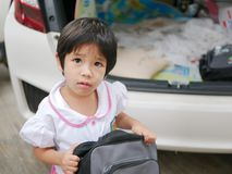 Little Asian baby girl being confused - baby facial expression royalty free stock image