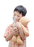 Little Asian boy with asthma using oxygen mask Royalty Free Stock Photo