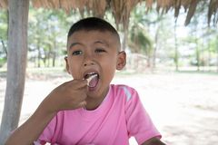 Cute little asian boy eating snack stock photos