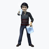 Little Asian boy holding cup and contatiner 4. Little Asian boy holding a cup and container of a healthy beverage Stock Photos