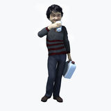 Little Asian boy holding cup and contatiner 2. Little Asian boy holding a cup and container of a healthy beverage Royalty Free Stock Photography