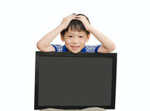 Little Asian boy holding  empty chalkboard Stock Images
