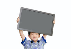 Little Asian boy holding  empty chalkboard Stock Photography