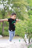 Little asian boy. Outdoor portrait of a little asian fat boy,Play in the park stock images