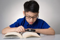 Little asian boy read a book Stock Photos