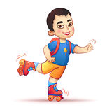 Little asian boy riding on roller skates. Happy Royalty Free Stock Photo