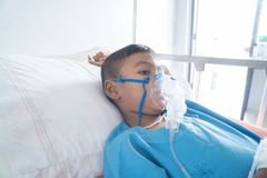 Little asian boy sick asthma stock image