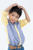 Little asian boy with smile face on gray background Stock Photos