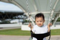Little Asian boy in swing Royalty Free Stock Photo