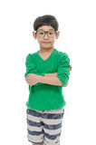 Little asian boy is wearing glasses, isolated Stock Photos