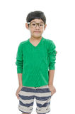 Little asian boy is wearing glasses, isolated Royalty Free Stock Image