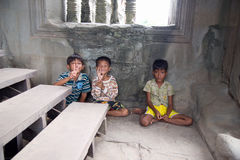 Little asian boys posing in Angkor Wat temple Stock Image