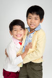 Little Asian boys in vintage suit  with smile face Royalty Free Stock Images