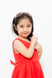 Little Asian child in beautiful red dress Royalty Free Stock Photo