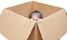 Little Asian child girl playing peekaboo and lie in big cardboard box isolated on white background.  royalty free stock photo