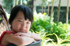 Asian child girl in stroller Stock Photo