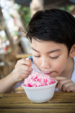 Little asian child with ice cream Stock Photo