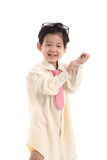 Little asian child pretending to be  business man Stock Image