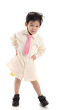 Little asian child pretending to be  business man. On white background isolated Stock Image