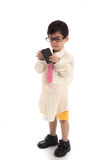 Little asian child pretending to be  businessman Stock Images