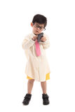Little asian child pretending to be  businessman Royalty Free Stock Image