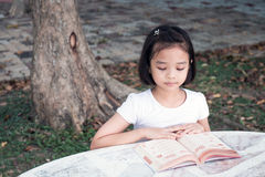 Little Asian child reading a book Royalty Free Stock Photos