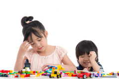 Little asian children  playing with colorful construction blocks Royalty Free Stock Photography
