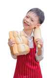 Little Asian cook with bread Stock Images