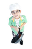 Little Asian cute chef with pan Royalty Free Stock Image