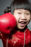 Little asian cute girl in Chinese costume Stock Photo