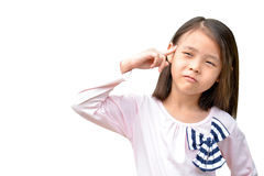 Little asian cute girl thinking Royalty Free Stock Photo