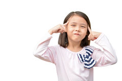 Little asian cute girl thinking Royalty Free Stock Photos