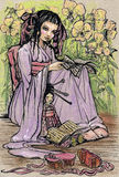 Little asian girl. Reading book to her doll (Illustration was made by pastel and ink Stock Photography