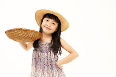 Little asian girl with basket Royalty Free Stock Photos