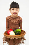 Little girl with basket Stock Image